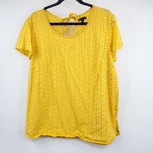 Lane Bryant Yellow Eyelet Crew Neck Top 22/24